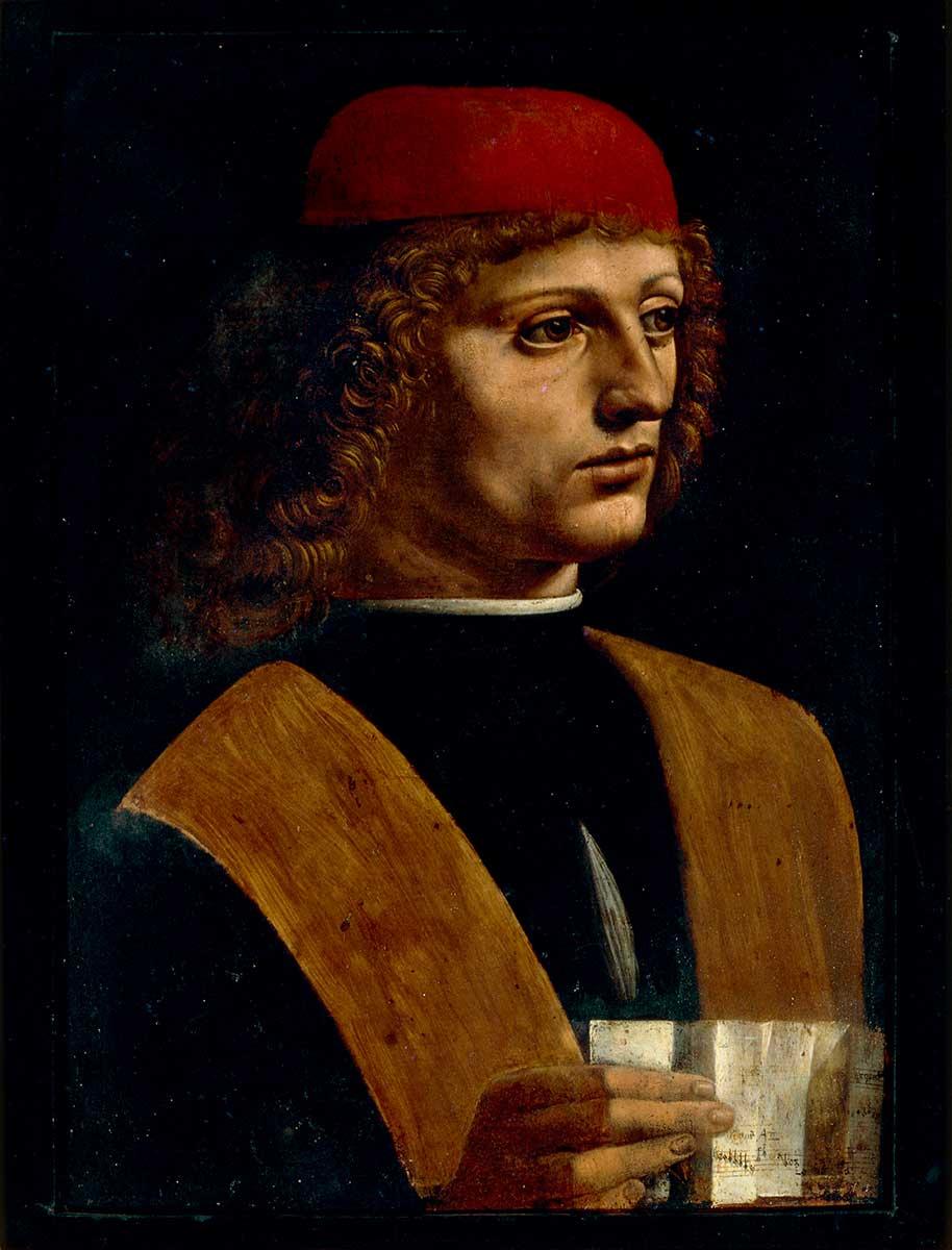 <p>Leonardo da Vinci, <em>Portrait of a Musician</em></p>