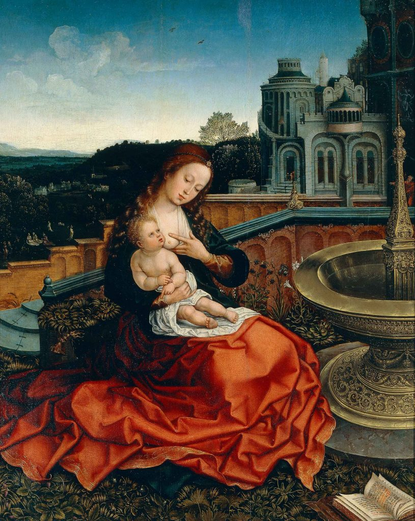 The Madonna Nursing the Child by the Fountain
