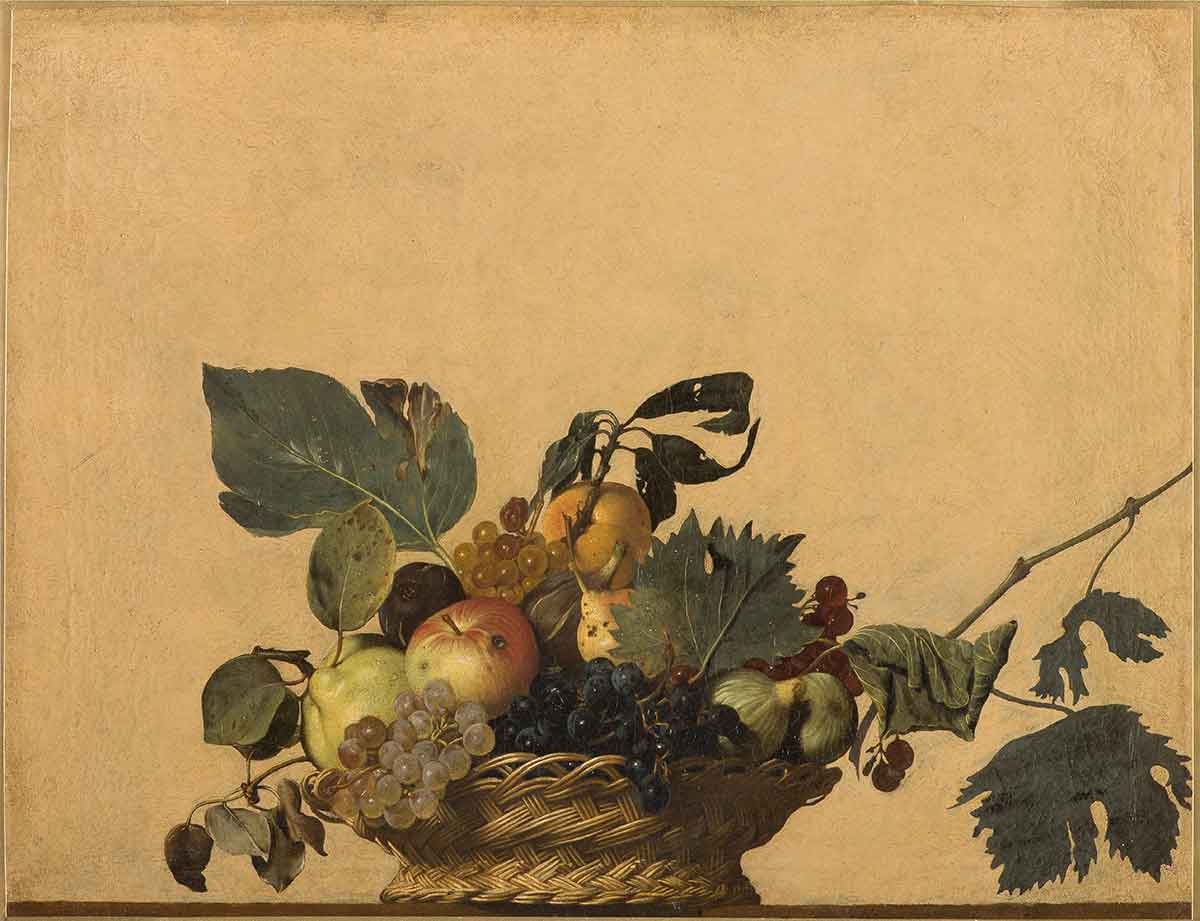 <p><em>Basket of Fruit</em>, Michelangelo Merisi da Caravaggio (1571-1610), 1594-1598, oil on canvas, 62 × 47 cm</p>