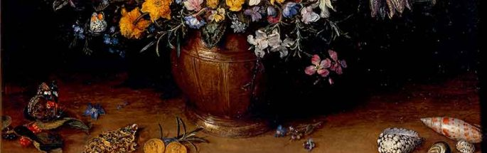 Vase of Flowers with Jewel, Coins and Shells