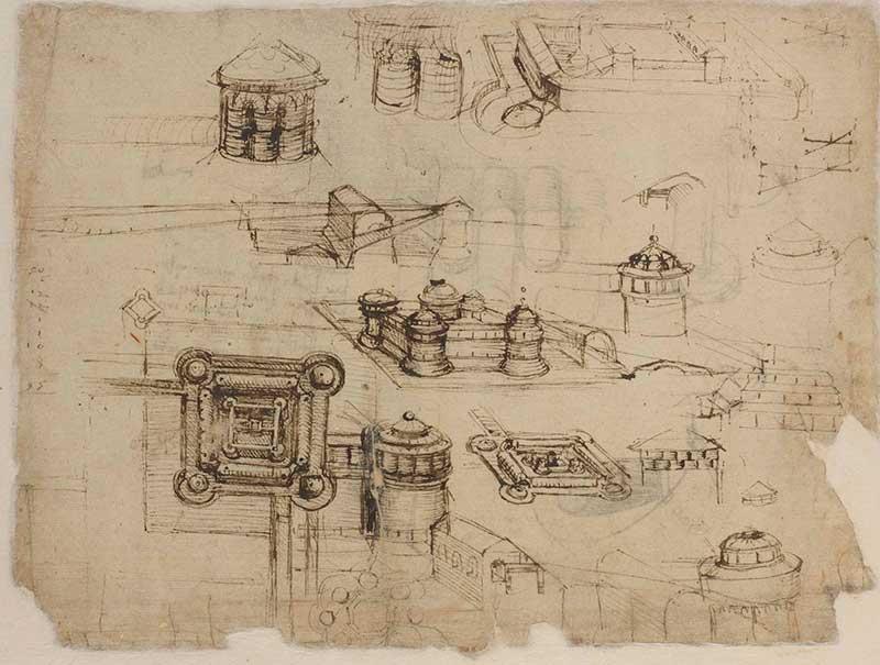<p>A destra, Codice Atlantico (Codex Atlanticus), f. 120v, <em>Castello a pianta quadrata</em>, Leonardo da Vinci (1452-1519), 1502-1503 circa. Penna e inchiostro, 308 × 231 mm</p>