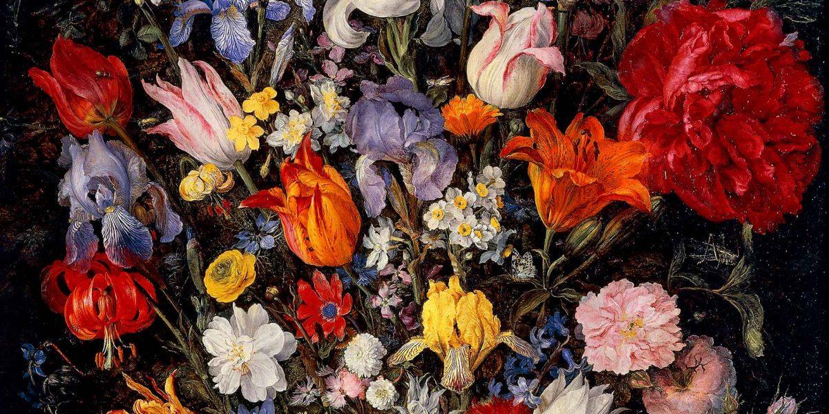 Vaso di fiori con gioiello, monete e conchiglie