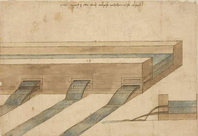 <p>Codice Atlantico (Codex Atlanticus), f. 1097r, <em>Naviglio di San Cristoforo</em>, Leonardo da Vinci (1452-1519), 1509. Penna, inchiostro e acquerello azzurro, 295 × 204 mm</p>