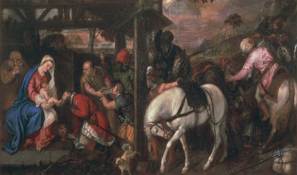 <p><em>Adorazione dei Magi</em>, Tiziano Vecellio (1480-1576), c. 1557 – 1560, olio su tela, 223 × 120 cm</p>