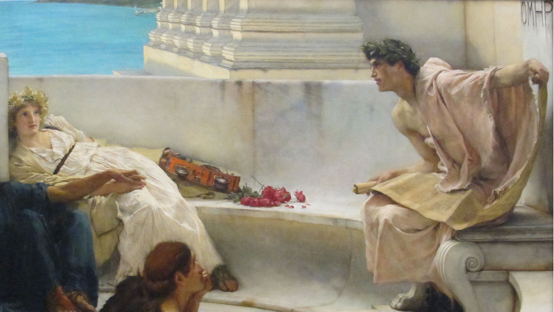 <p>Lawrence Alma-Tadema, Una lettura da Omero, dettaglio, 1885, Philadelphia Museum of Art<br /> Sailko [CC BY 3.0 (https://creativecommons.org/licenses/by/3.0)], from Wikimedia Commons</p>