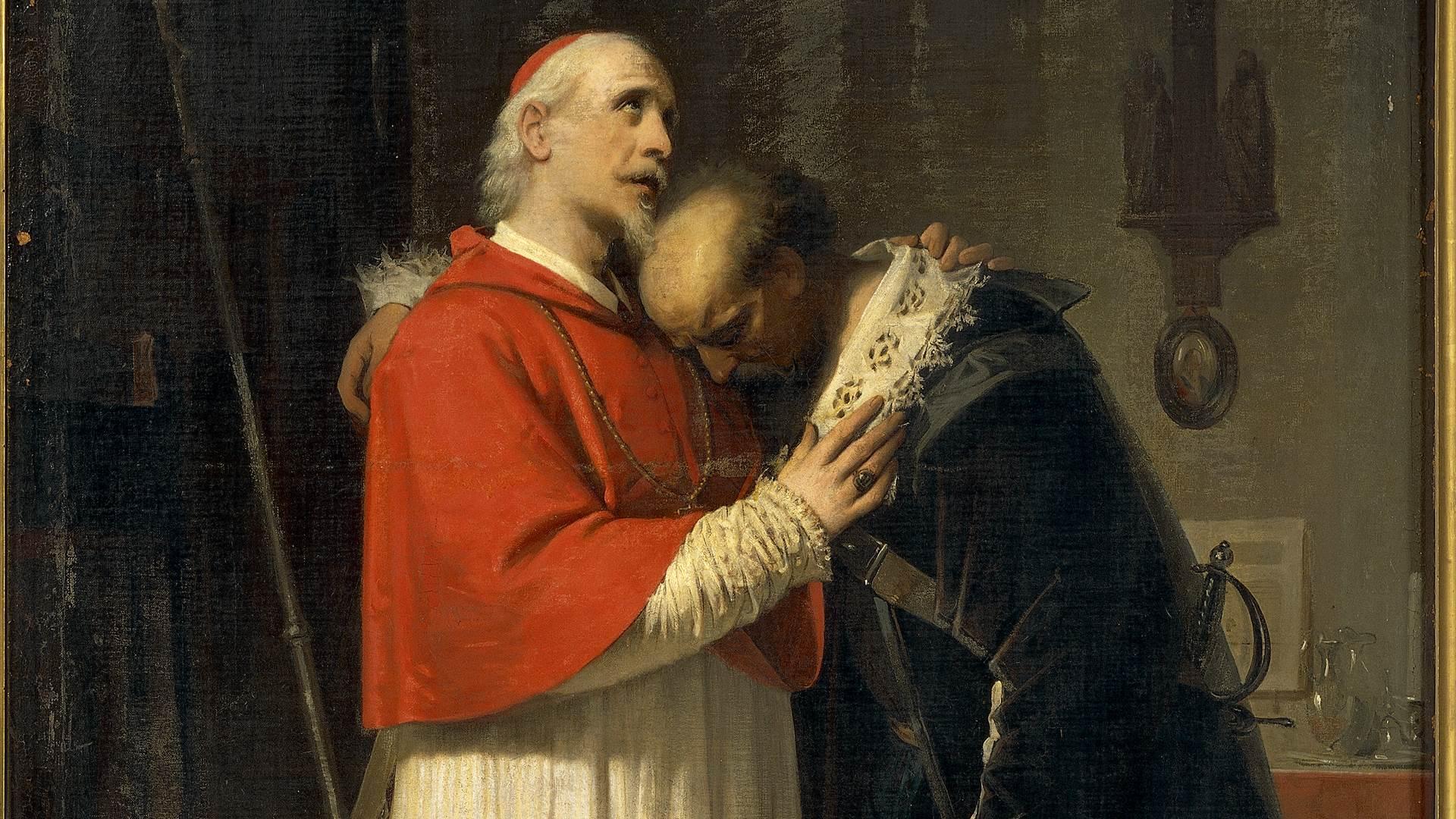 <p>Alessandro Guardassoni (1819-1888), La conversione dell'Innominato, 1856, olio su tela, dettaglio</p>