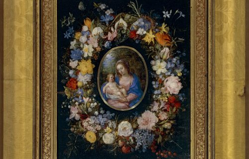 <em>THE MADONNA WITH CHILD WITHIN A GARLAND</em><BR>JAN BRUEGHEL THE ELDER