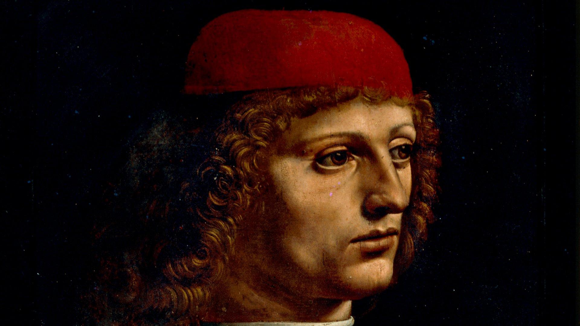 <p>Leonardo da Vinci<br /> <em>Ritratto di Musico</em>, dettaglio<br /> olio su tavola</p>