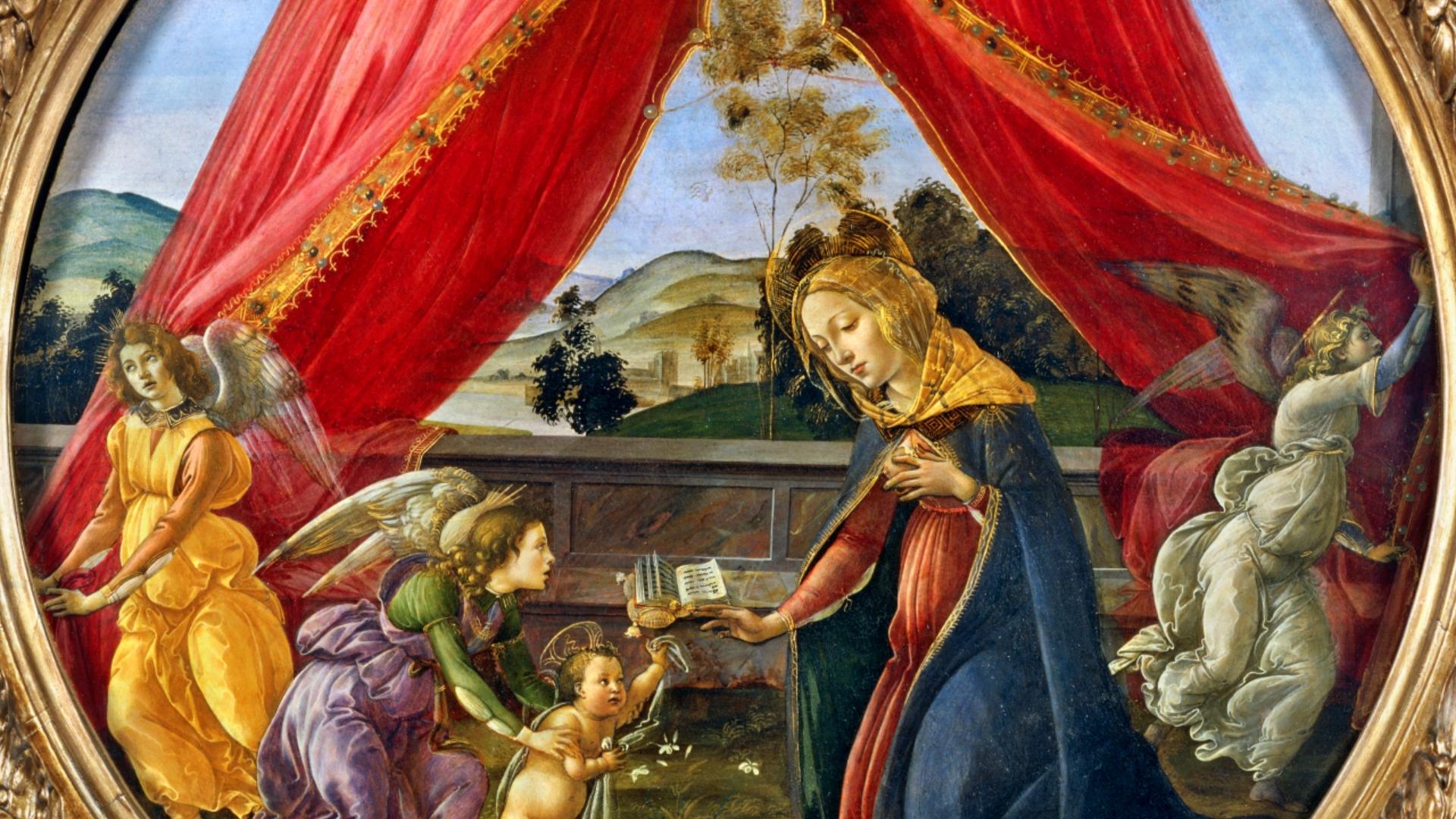 <p>Sandro Botticelli<br /> <em>Madonna del Padiglione</em>, dettaglio<br /> Tempera su tavola</p>