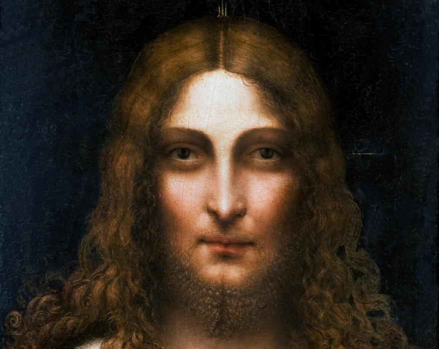 <p>Gian Giacomo Caprotti, detto Salai<br /> <em>Cristo Redentore</em>, dettaglio<br /> olio su tavola</p>