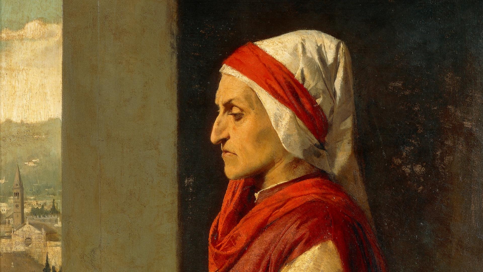<p>Angelo Pietrasanta, <em>Ritratto di Dante</em>, dettaglio<br /> Olio su tela</p>